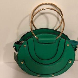 Handbags - Faux Leather Round Satchel Green Bag